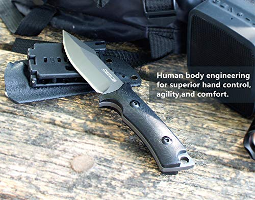 Oerla TAC OLF-1009 Fixed Blade Outdoor Duty Knife 420HC Stainless Steel Field Knife Camping Knife with G10 Handle Waist Clip EDC Kydex Sheath (Black) by Oerla (Image #4)