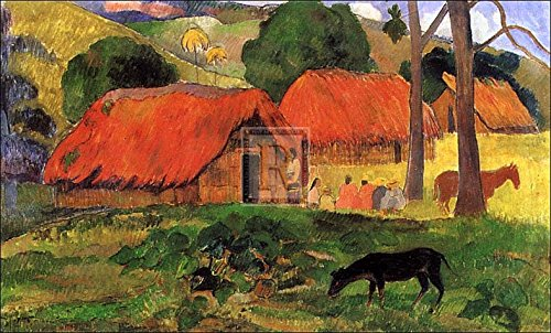 village-in-tahiti-poster-print-by-paul-gauguin-34-x-24