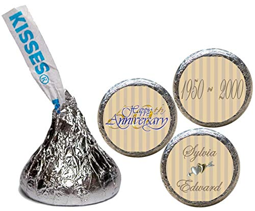 (50th Anniversary Stickers for the Bottom of Chocolate Kisses (Set of 108)(RGoldenStripes))