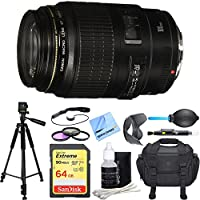 Canon Canon EF 100mm f/2.8 USM Macro Auto Focus Lens Deluxe Accessory Bundle includes Lens, 64GB SD Memory Card, Tripod, 58mm Filter Kit, Lens Hood, Bag, Cleaning Kit, Beach Camera Cloth and More