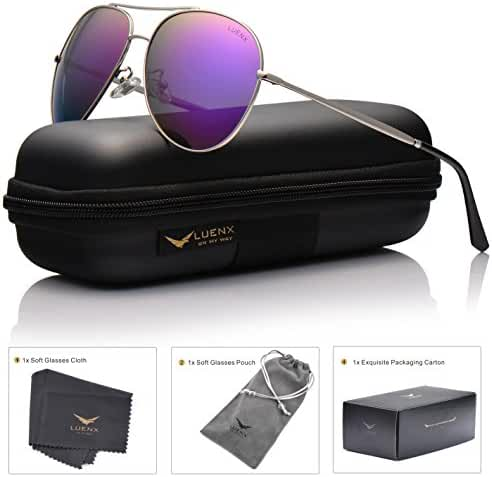 LUENX Aviator Sunglasses Polarized for Men & Women with Case - 400 UV Mirrored Lens60mm