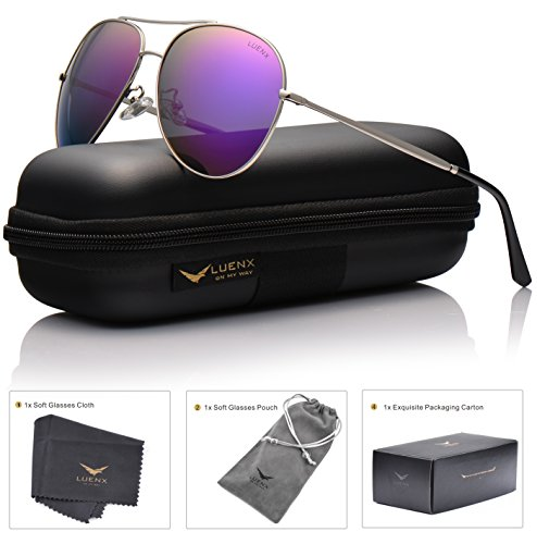 LUENX Aviator Sunglasses Polarized for Men & Women with Case - 400 UV Purple Lens Metal Gloss Silver Frame Mirrored - Color Enhancing Sunglasses
