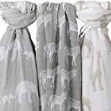 Organic Muslin Baby Swaddle Blankets - 2 Pack plus Burp Cloth - Large 47 x ...