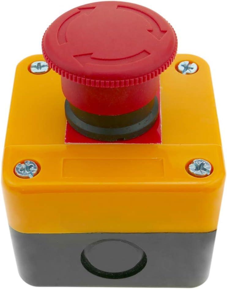 BeMatik Caja de pulsador de parada de emergencia con bloqueo NC 22mm