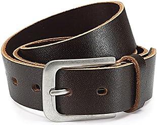 Herren Jeans-Gürtel 4 cm breit Ledergürtel aus Büffel-Leder - Schnalle im Used Look - Individuell kürzbar durch Schraubhalterung (Bundweite: 125 cm/Gesamtlänge: 140 cm, Braun)
