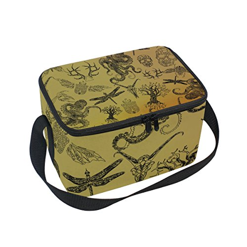 Dragon Sword Abstract Gothic Thin Line Octopus Skull Dragonfly Insulated Lunch Bag Lunch Box Cooler Tote Bag for Men Women Kids