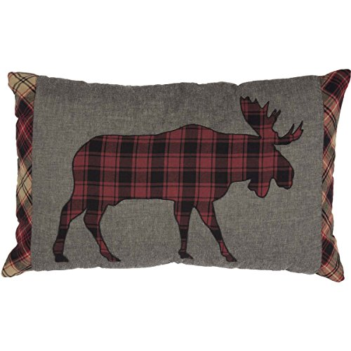 VHC Brands Rustic & Lodge Pillows & Throws - Cumberland Grey Applique Moose 14