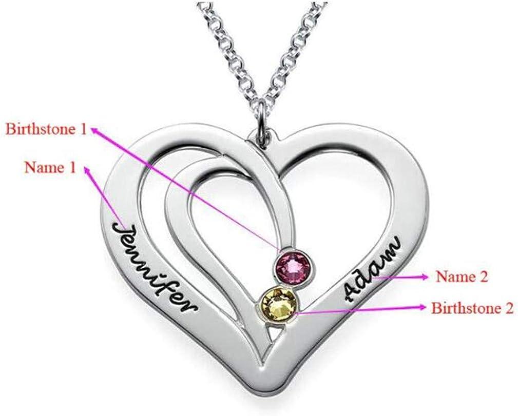 Yandam 2 Vertical Heart-Shaped Necklace Fashion Birthstone Custom Name Necklace Gift