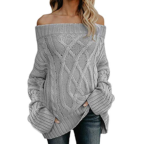GOVOW Sexy Long Sleeve Shirts for Women Cleavage Off Shoulder Loose Cable Knit Sweater Pullover Blouse(US:10/CN:XL,Gray)
