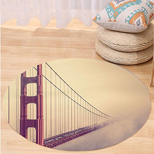 Kisscase Custom carpetApartment Decor Collection San Francisco Golden Gate Bridge Scenery Fog Mist Highway Horizontal Architecture Bedroom Living Room (Custom Made Costumes San Francisco)
