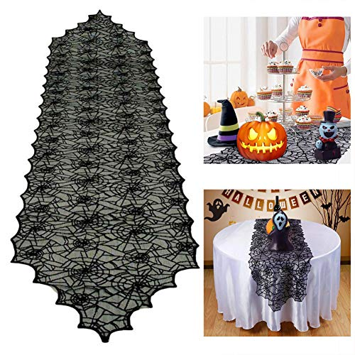 Dulcii Halloween Black Lace Spider Web Table Runner/Tablecloth/Table Cover for Halloween Dinner Parties and Scary Movie Nights, -