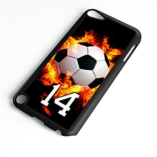 iPod Touch Case Fits 6th Generation or 5th Generation Soccer Ball #7400 Choose Any Player Jersey Number 14 in Black Plastic Customizable by TYD Designs ()
