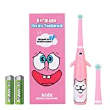 Hermano Kids Electric Toothbrush, Battery Powered Electronic Sonic Toothbrush with 2 Replacement Heads for Children, Pink