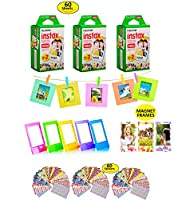 Fujifilm Instax Film 60 Shots for Fuji instax Mini 8 or Mini 9 Twin Pack Fuji Instax Films for Instax Fuji SP-1 or SP-2 Printer + Gift of 60 Decorative Skin Stick-on Fuji Instax Stickers