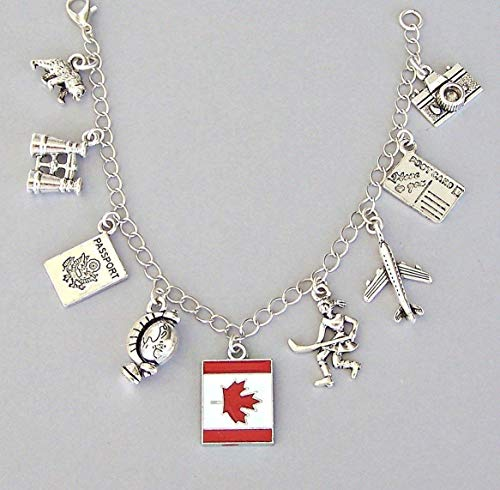 Canada Charm Bracelet or Necklace, Travel Gift