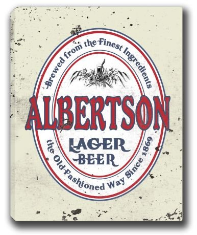 albertson-lager-beer-stretched-canvas-sign-16-x-20