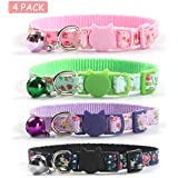 CHUKCHI 4 Pcs Cat Collars Safety Quick Release with Bell-Adjustable Cat Collar with Small Floral Colorful Patterned Soft…