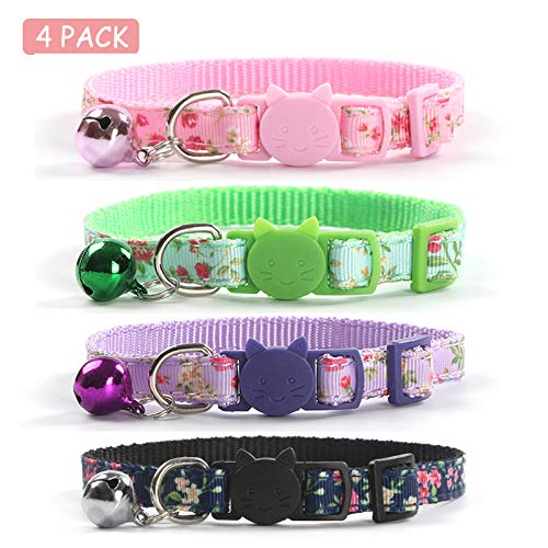 CHUKCHI 4 Pcs Cat Collars Safety Quick Release with Bell-Adjustable Cat Collar with Small Floral Colorful Patterned Soft Strong Nylon Strip for Cat, Pup, Kitty