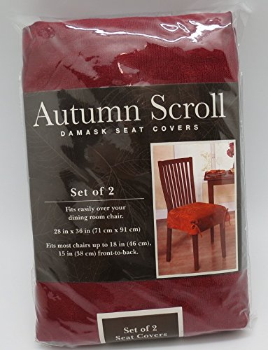 Set of 2 Autumn Scroll Damask Dining Room Seat Covers in a Wine Color