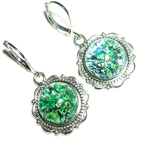 GREEN OPAL EARRINGS Czech Glass Opalized Cabochon Stones SILVER Pltd Leverback Dangle Drops