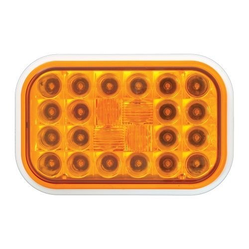 GG Grand General 77170 Rect. Pearl Led Light with Grommet & Pigtail, Amber Lens