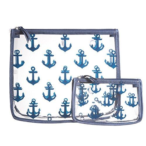 (Clear Designer Zipper Insert (Set of 2) Travel Organizer Storage Pop In Original Bogg and Baby Bogg Bag (Navy Anchor))