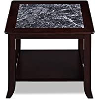Olee Sleep VC22TB04D Grigo Garinico Natural Top Side Real Marble/Classic/Stylish/Soild Wood Table, 18, Dark Black And Black