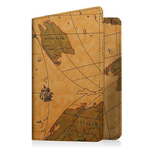 Famavala RFID Blocking Passport Holder Case Cover Wallet, MapBrown