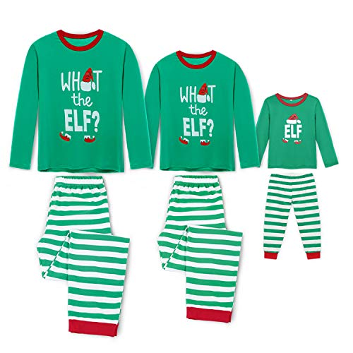 Rnxrbb Holiday Christmas Pajamas Family Matching Pjs Set Xmas Jammies for Couples and Kids Green Cotton,Women,L ()