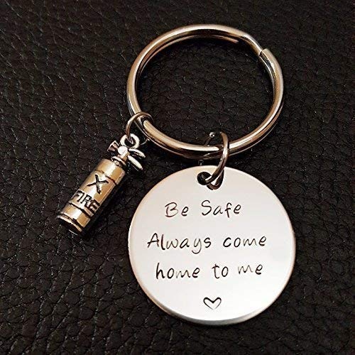 Firefighter Be Safe Key Chain, Always Come Home to Me, Handstamp, Be Safe Gift, Firefighter Gift