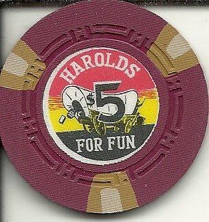 ($5 harold's club for fun obsolete casino chip reno nevada)