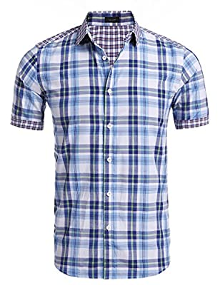 JINIDU Men's Woven Plaid Short Sleeve Casual Button Down Shirt