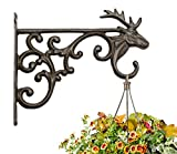 Mkono Hanging Plant Bracket Hook Iron Decorative Plant Hanger for Flower Basket Bird Feeder Wind Chime Lanterns