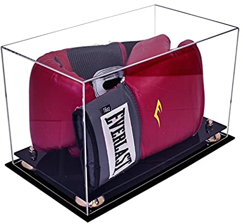 Deluxe Clear Acrylic Single or Double Boxing Glove Display Case with Gold Risers (A011-GR) - Collectibles