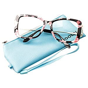 SOOLALA Ladies Lightweight Large Frame Eyeglass Fashion Reading Glass, Floral, +2.0