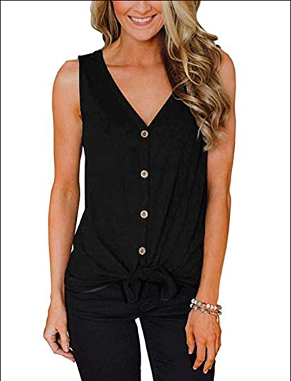 e41faae0b2946 Women s V-Neck Sleeveless Button Down Blouse Henley Tops Tie Knot Tanks  Sexy Black S