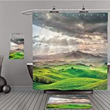 Uhoo Bathroom Suits & Shower Curtains Floor Mats And Bath Towels 159517811 Tuscany, rural sunset landscape. Countryside farm, cypresses trees, green field, sun light and cloud. Volterra, Italy, Europe