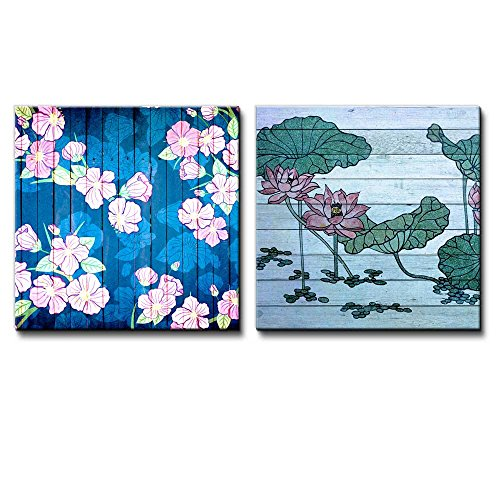 Illustration of Pink Flowers on a Blue Pond Along with Illustration of Water Lilies Over Wooden Panels