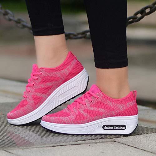 Malla Tejida Deporte Calzado Suela 35 De 40 Rosado Densa Logobeing Zapatillas Con Sneakers Deportivo Gruesa Y Vuelo XAnIx