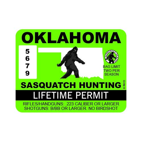 "RDW Oklahoma Sasquatch Hunting Permit - Color Sticker - Decal - Die Cut - Size: 4.00"" x 3.00"""