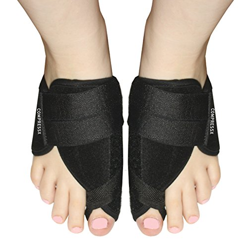 Nighttime Heel Treatment Cream (1 Pair Black Nighttime Bunion Treatment Corrector Relief Splints with Travel Bag by COMPRESSX - 2pc Night Time Bootie Set for Bunion and Hallux Valgus Correcting - Pain Support Splint for Men & Women)