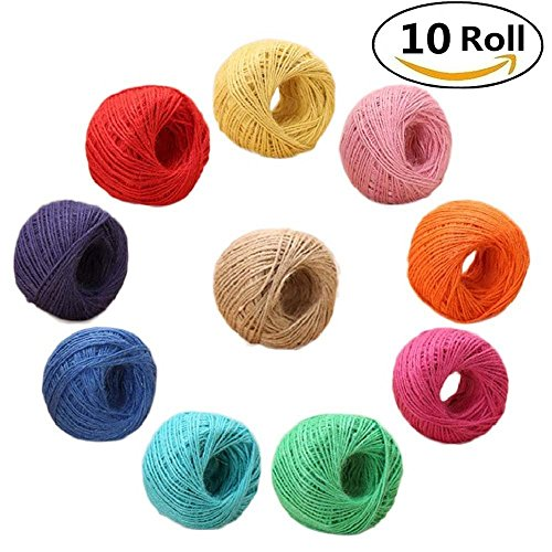 10 Roll Colourful Natural Jute Twine - 3ply 2mm Colored Twine String for Artworks, Crafts, Gift Wrapping, Picture Display and Gardening, Christmas Decoration