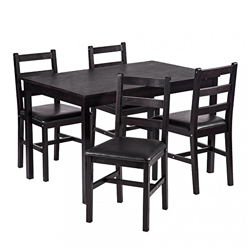 5PCS Dining Table Set Pine Wood Kitchen Dinette Table with 4 Chairs by FDW