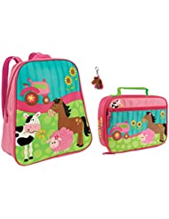 Stephen Joseph Girl Farm Animals Backpack and Lunch Box with Zipper Pull