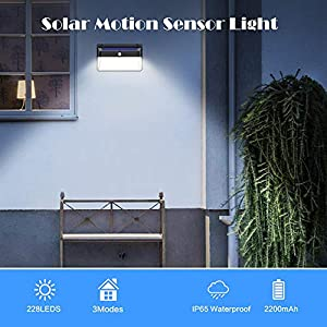 Solar Lights Outdoor, Vooe 228 LED Motion Sensor Solar Security Lights 2200 mAh Solar Wall Lights Wireless 270° Illuminated Waterproof Solar Powered Lamp with 3 Modes for Outside (2 Pack)