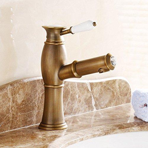 Hlluya Wasserhahn für Waschbecken Küche Das Gold Pull-down Pull-down Pull-down Wasserhahn warmes und Kaltes antike Pull-down Waschbecken Wasserhahn, b9344f