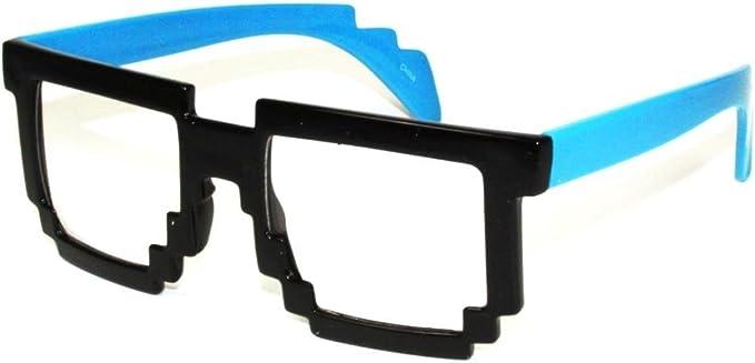 "Pix-elated Clear Lens Fashion Glasses Solid Color Frame /""8-Bit/"""