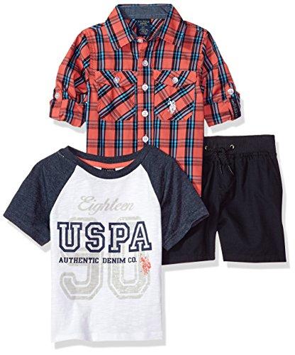U.S. Polo Assn. Boys Long Sleeve Woven, T-Shirt and Short Set