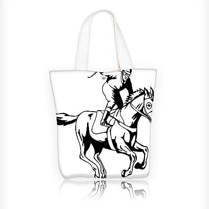 Amazon Com Reusable Cotton Canvas Zipper Bag Jockey Man Riding And