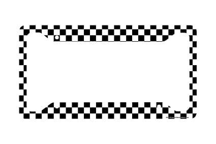 Amazoncom Airstrike Checkered Flag License Plate Frame Black And